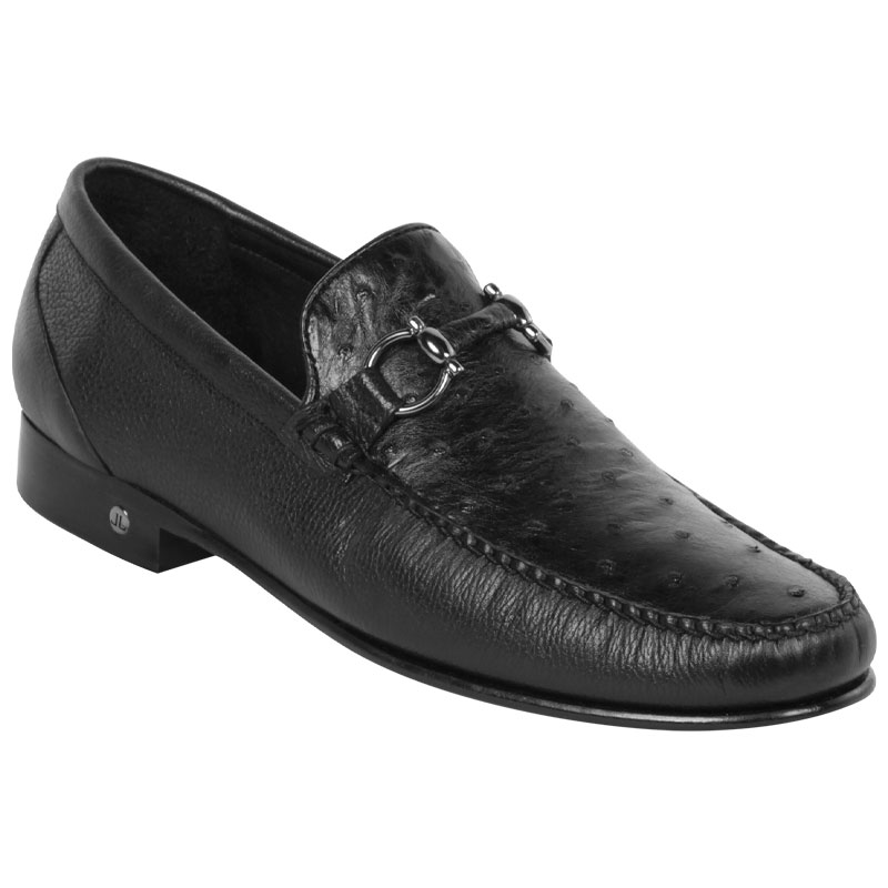 Lombardy Ostrich & Calfskin Bit Loafers Black Image