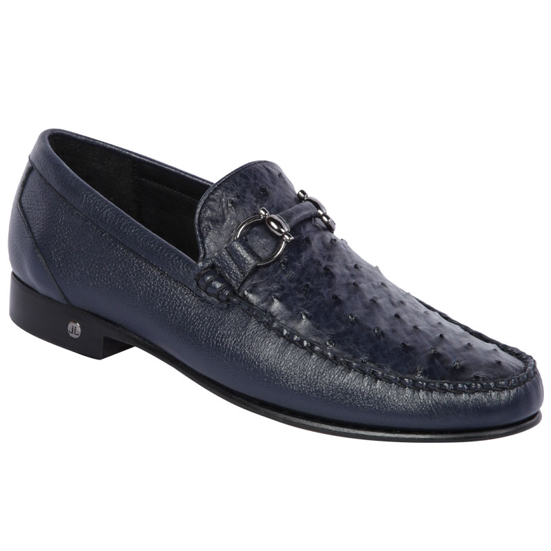 Lombardy Ostrich & Calfskin Bit Loafers Navy Blue Image