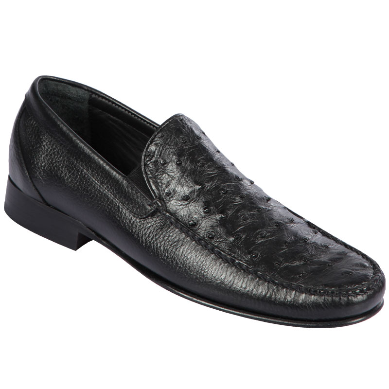 Lombardy Ostrich & Calfskin Loafers Black Image