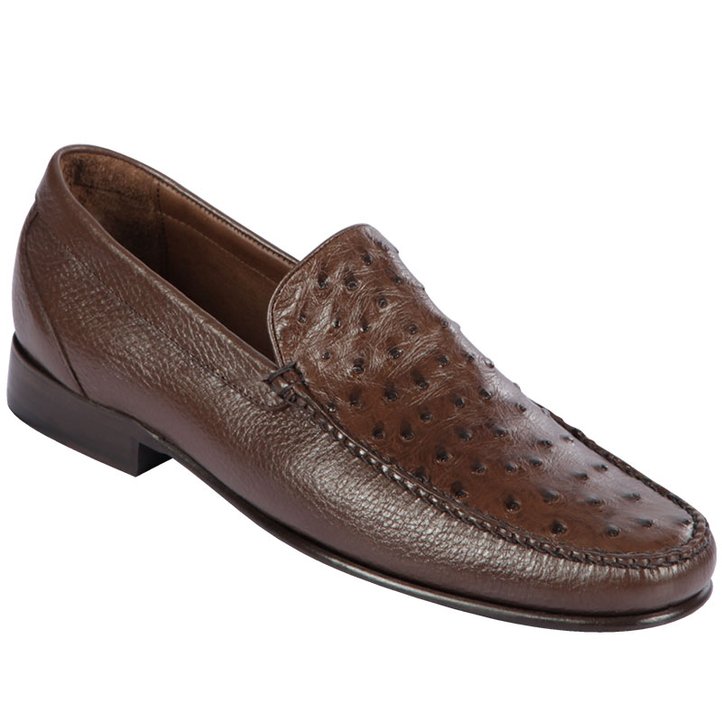 Lombardy Ostrich & Calfskin Loafers Brown Image