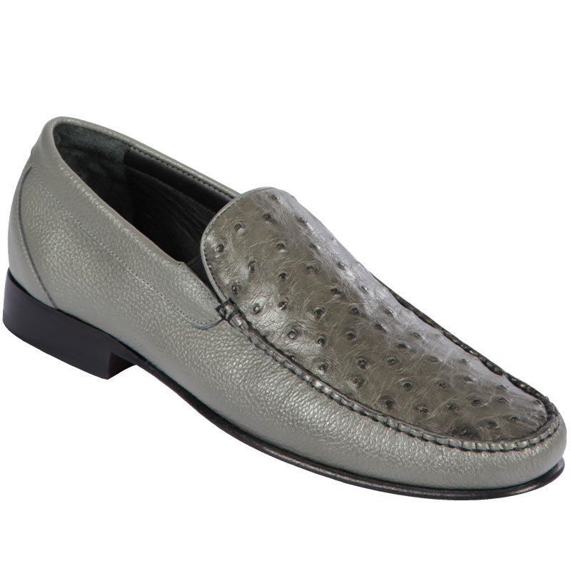 Lombardy Ostrich & Calfskin Loafers Gray Image