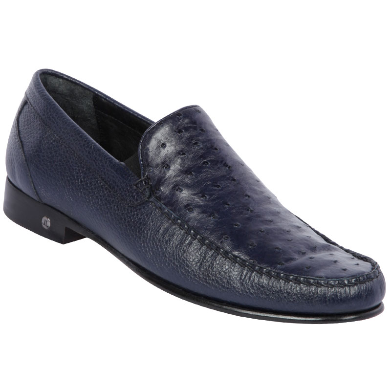 Lombardy Ostrich & Calfskin Loafers Navy Blue Image