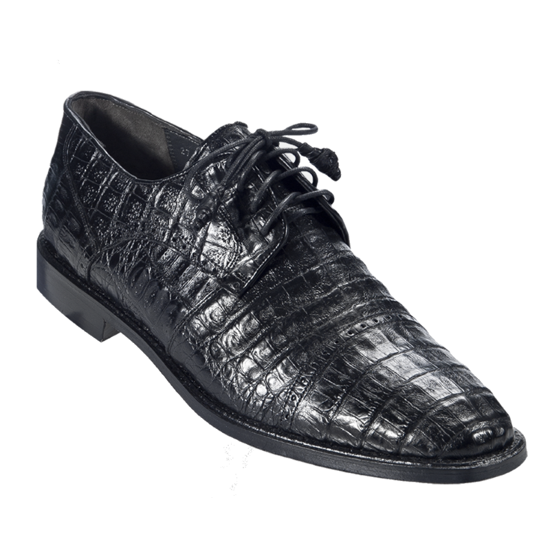 Los Altos Caiman Belly Cap Toe Shoes Black Image