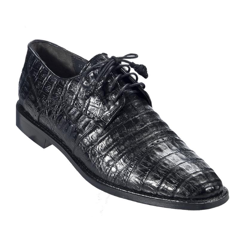 Los Altos Caiman Belly Cap Toe Shoes Black Image
