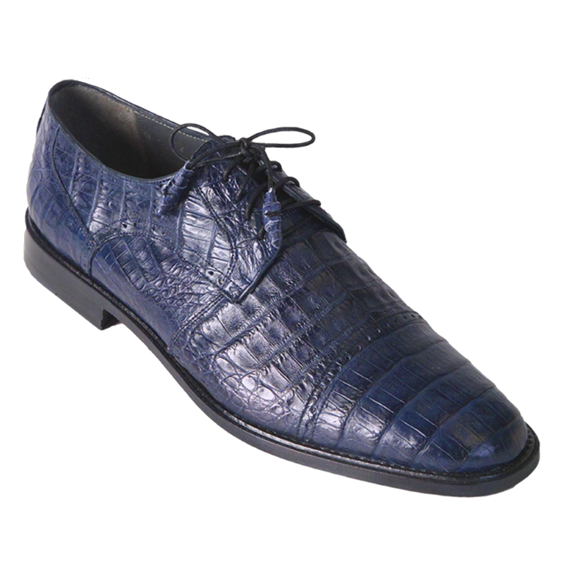 Los Altos Caiman Belly Cap Toe Shoes Navy Image