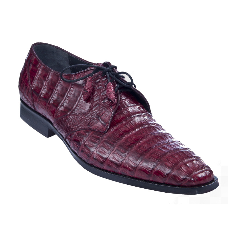 Los Altos Caiman Belly Derby Shoes Burgundy Image
