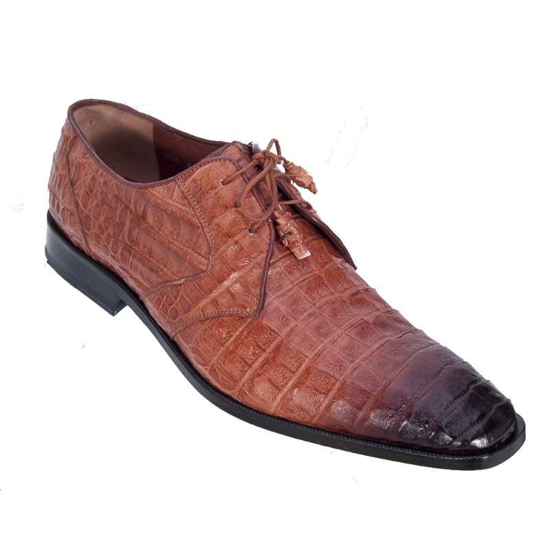Los Altos Caiman Belly Derby Shoes Faded Cognac Image