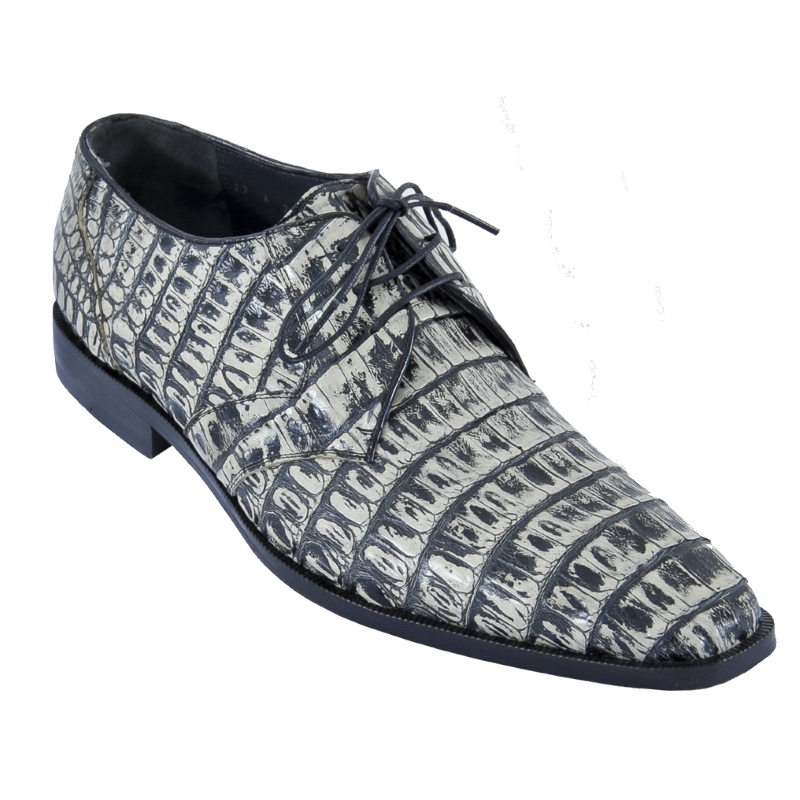 Los Altos Caiman Belly Derby Shoes Rustic Black Image