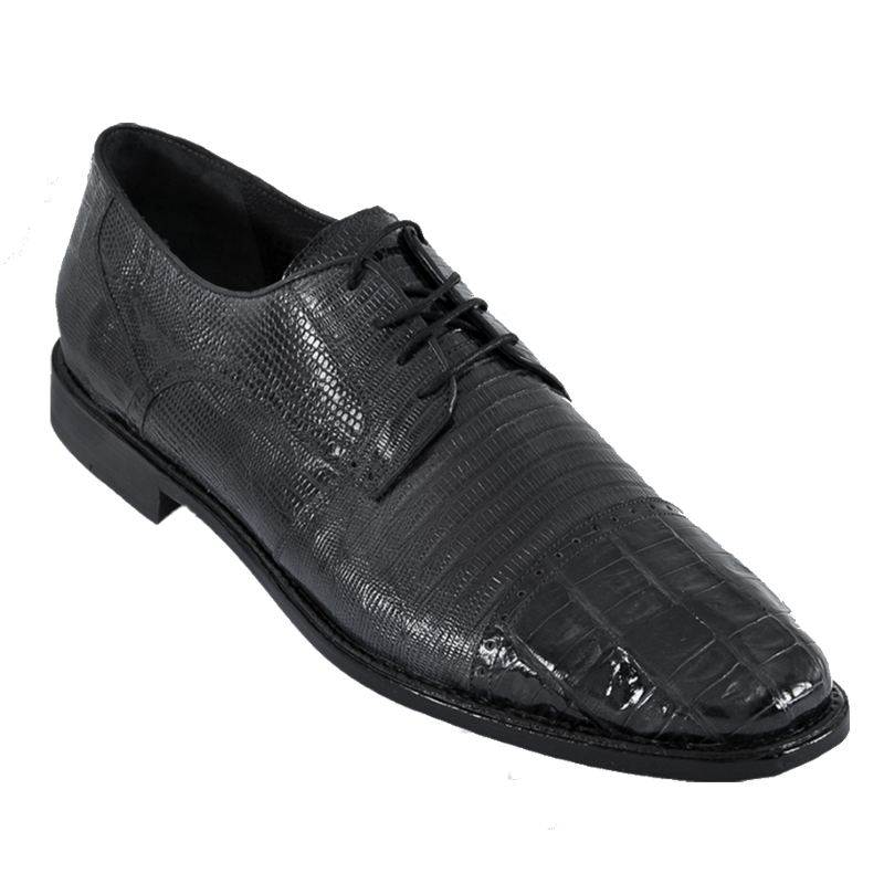 Los Altos Lizard & Caiman Cap Toe Shoes Black Image