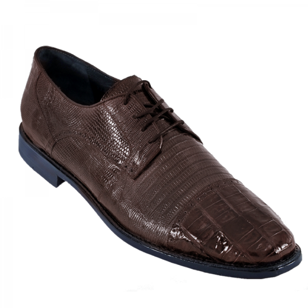 Los Altos Lizard & Caiman Cap Toe Shoes Brown Image