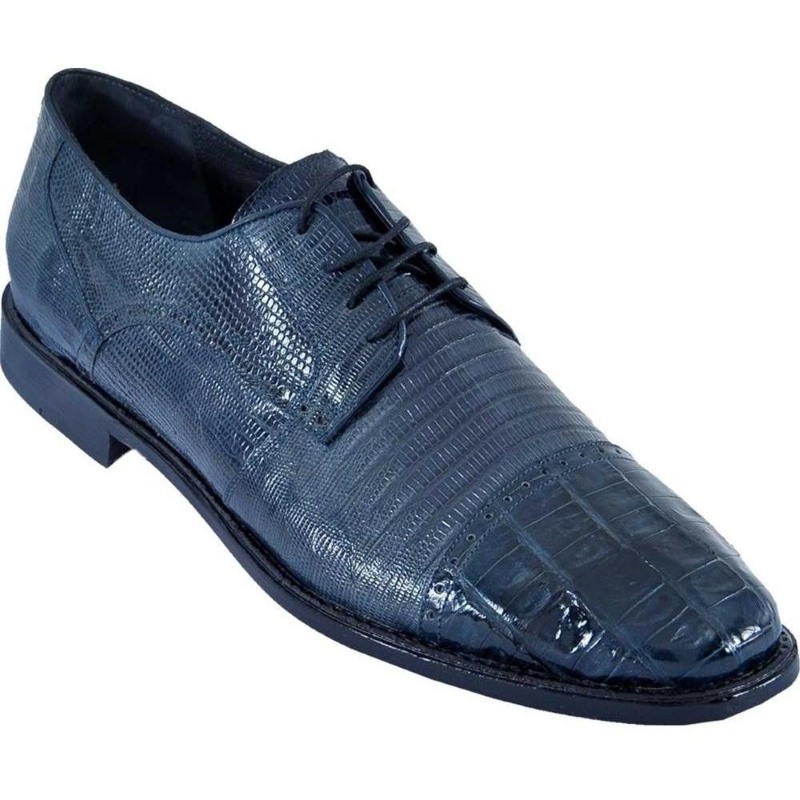 Los Altos Lizard & Caiman Cap Toe Shoes Navy Image