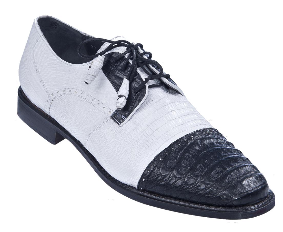 Los Altos Lizard & Caiman Spectator Shoes Black / White Image