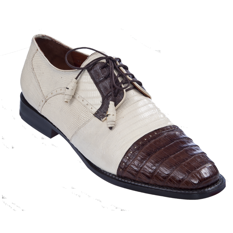 Los Altos Lizard & Caiman Spectator Shoes Bone / Brown Image