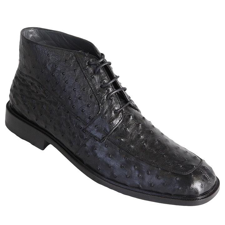 Los Altos Ostrich Quill Boots Black Image