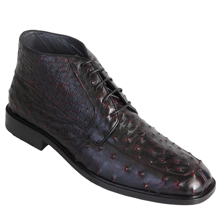Los Altos Ostrich Quill Boots Burgundy Image