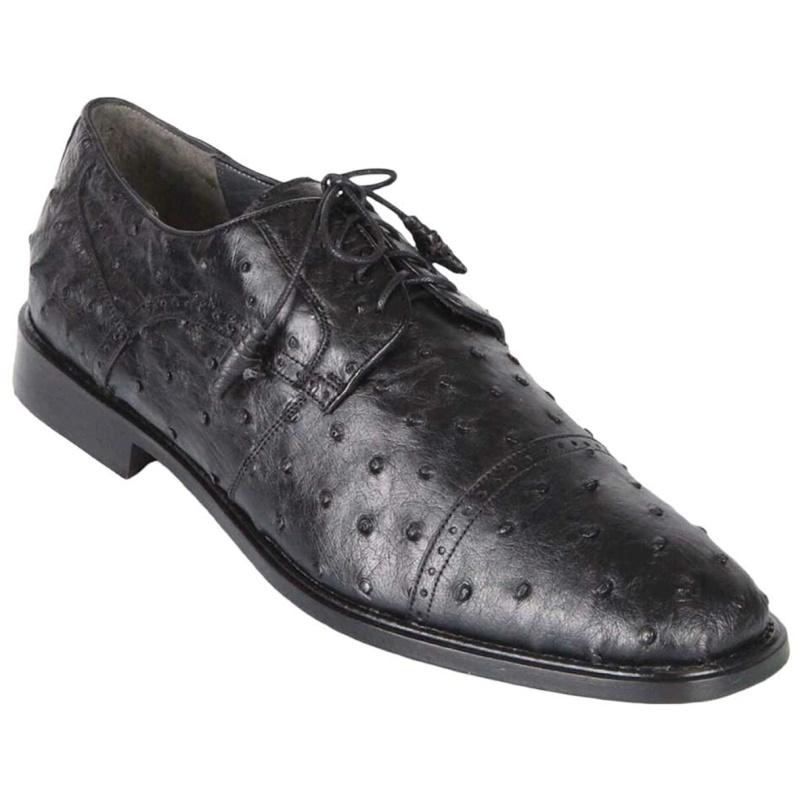 Los Altos Ostrich Quill Cap Toe Shoes Black Image