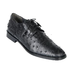 Los Altos Ostrich Quill Cap Toe Shoes Black Image