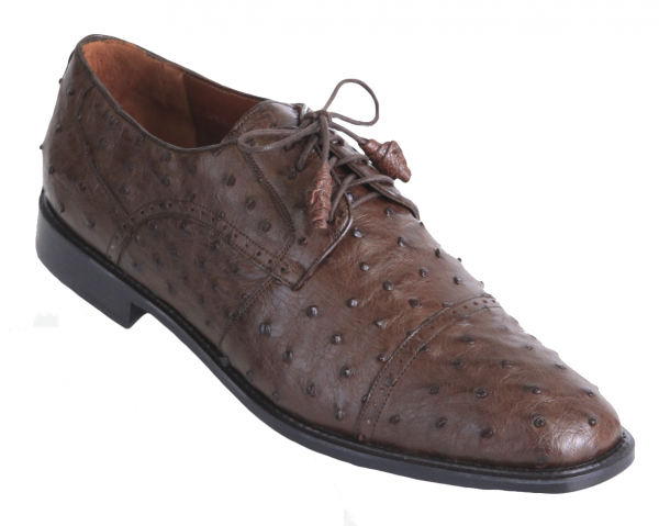 Los Altos Ostrich Quill Cap Toe Shoes Brown Image
