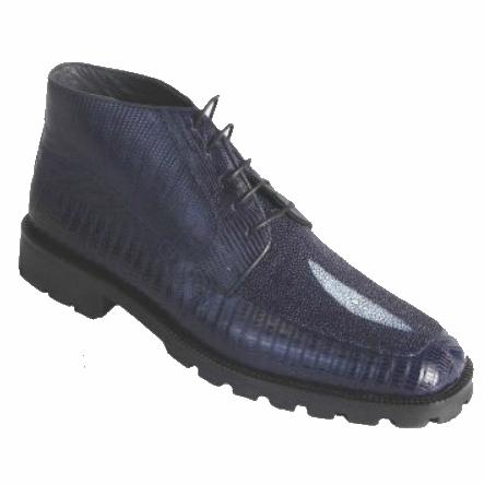 Los Altos Stingray & Lizard Boots Blue Image