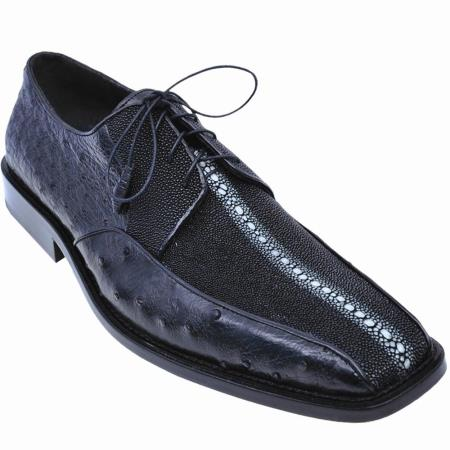 Los Altos Stingray & Ostrich Dress Shoes Black Image