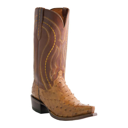Lucchese M1606.R4 Montana Ostrich Quill Boots Tan Image