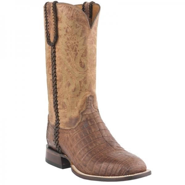 Lucchese M2617.WF Dalton Caiman Crocodile Belly Boots Barnwood Brown Image