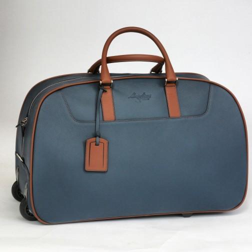 Massimiliano Stanco Boston Trolley Bag Blue / Chestnut Image