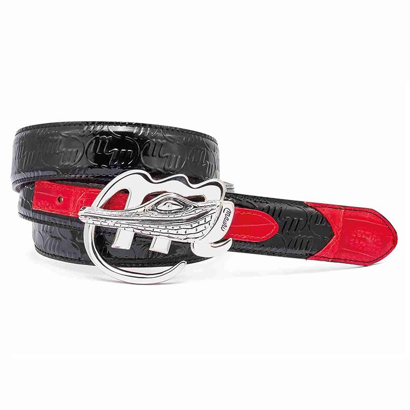 Mauri 0100 35 Baby Crocodile / Patent Embossed Belt Black / Red Image