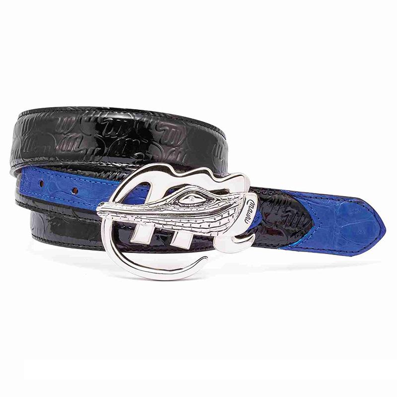 Mauri 0100 35 Baby Crocodile / Patent Embossed Belt Black / Royal Blue Image