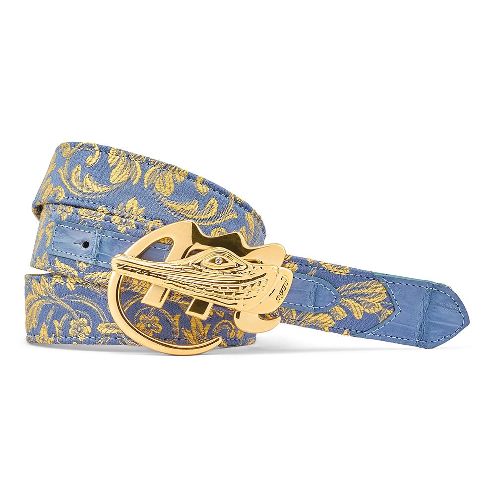 Mauri 0100/35 Croc & Gobelins Fabric Belt New Blue Image