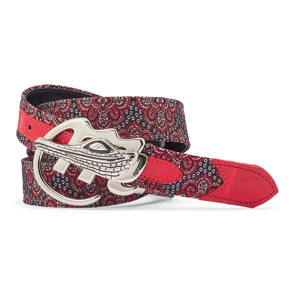 Mauri 0100/35 Croc & Gobelins Fabric Belt Red / Black Image