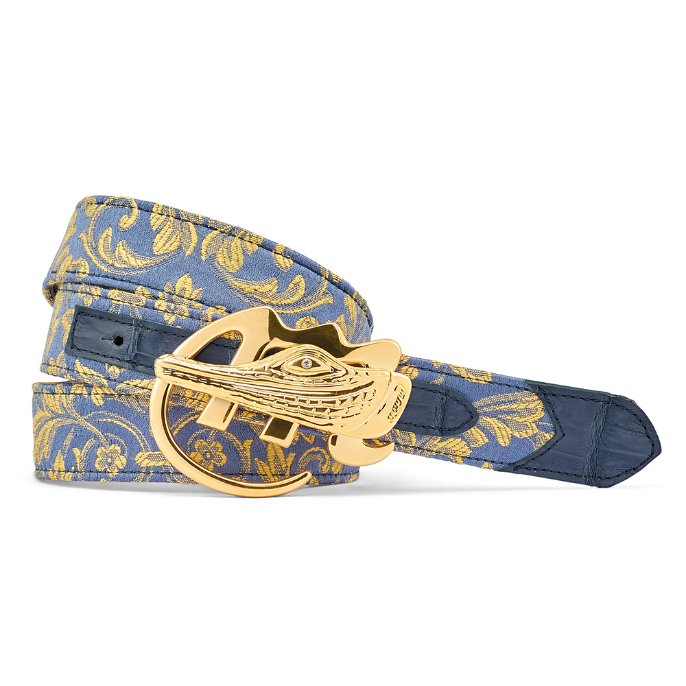 Mauri 0100/35 Croc & Gobelins Fabric Belt W. Blue / New Blue Image