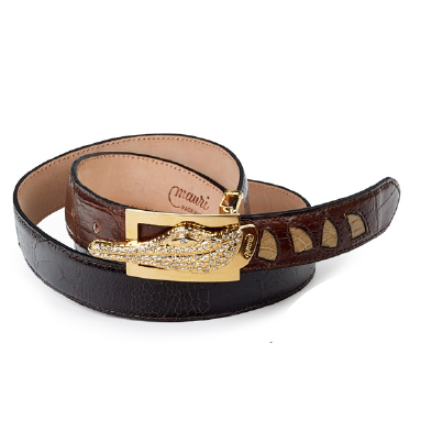 Mauri 100-35 Alligator & Ostrich Leg Belt Camel / Bone / Dark Brown (Special Order) Image