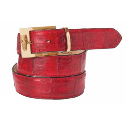 Mauri 100-35 Baby Crocodile Belt Red (Special Order) Image