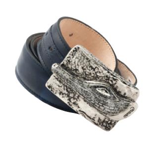 Mauri 100-35 Calfskin & Alligator Belt Blue (Special Order) Image