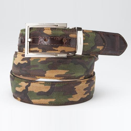 Mauri 100-35 Suede Camouflage & Crocodile Belt (Special Order) Image