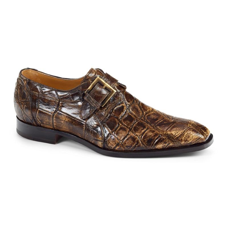 Mauri 1002 Alligator Monk Strap Shoes Burnished Brown (Special Order) Image