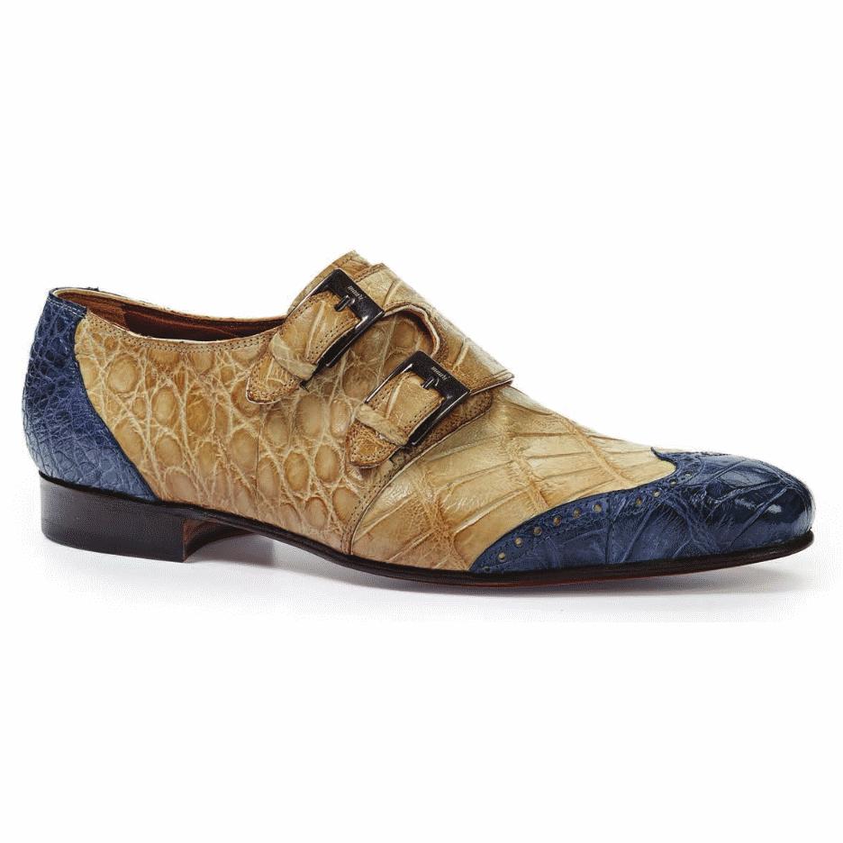 Mauri 1010 Masolino Alligator Monk Strap Shoes Blue / Bone (Special Order) Image