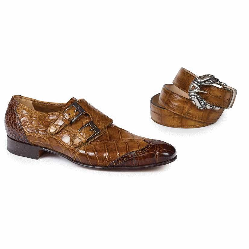 Mauri 1010 S Masolino Alliigator Monk Strap Shoes Sport Rust / Brandy (Special Order) Image