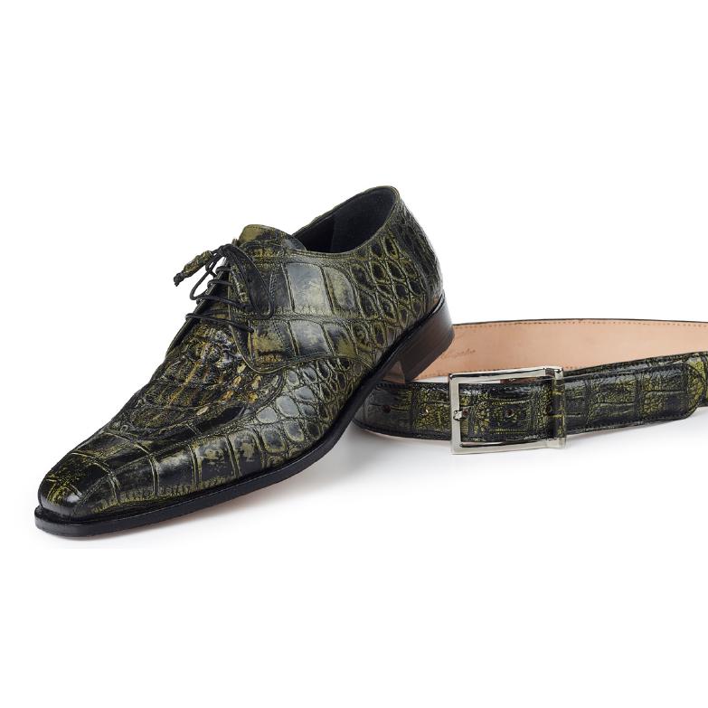 Mauri 1022 Bamboo Body Alligator & Hornback Shoes Olive / Black (SPECIAL ORDER) Image