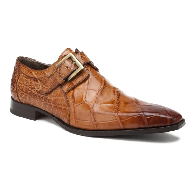 Mauri 1032 Saga Alligator Monk Strap Shoes Cognac (Special Order) Image