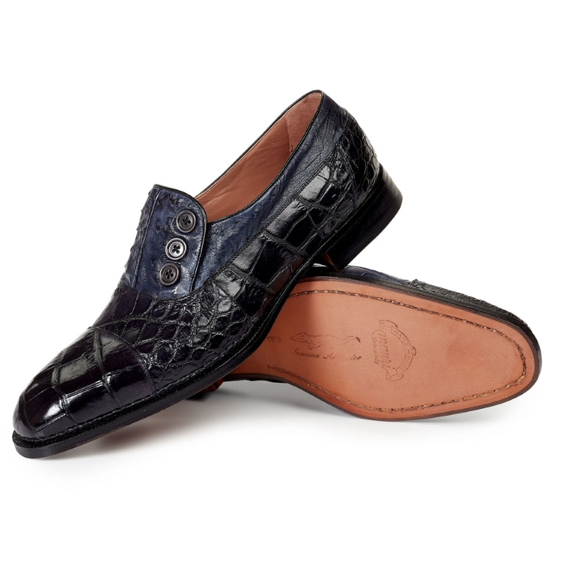 Mauri 1036 Insigna Cap Toe Alligator Loafers Black / Charcoal Gray (Special Order) Image