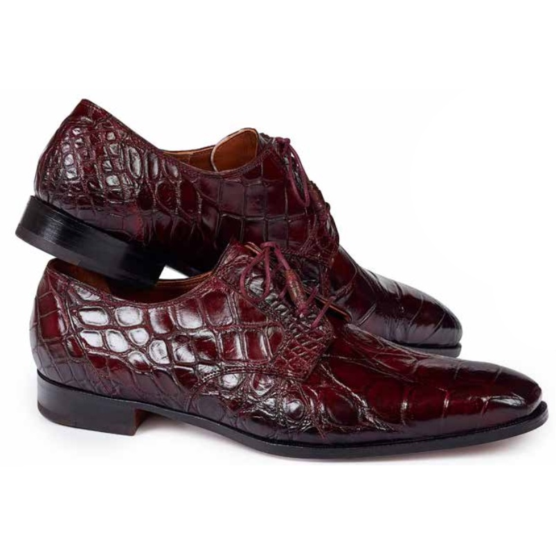Mauri 1059 Palladio Alligator Derby Shoes Ruby Red (Special Order) Image