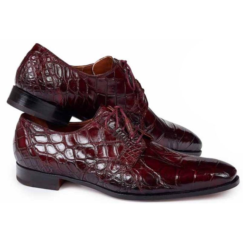 Mauri 1059 Palladio Alligator Derby Shoes Ruby Red Image