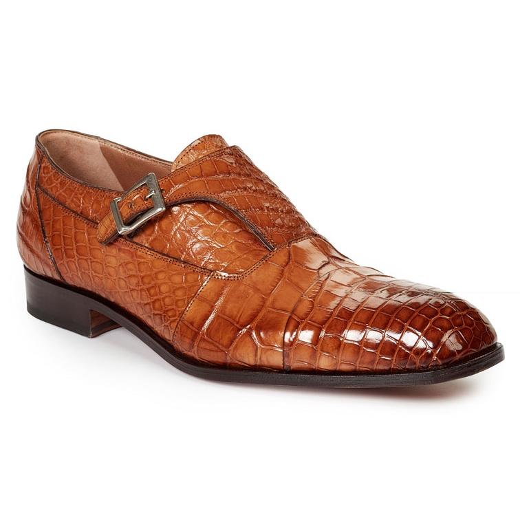 Mauri 1069 II Brunei Alligator Monk Strap Shoes Brandy (SPECIAL ORDER) Image