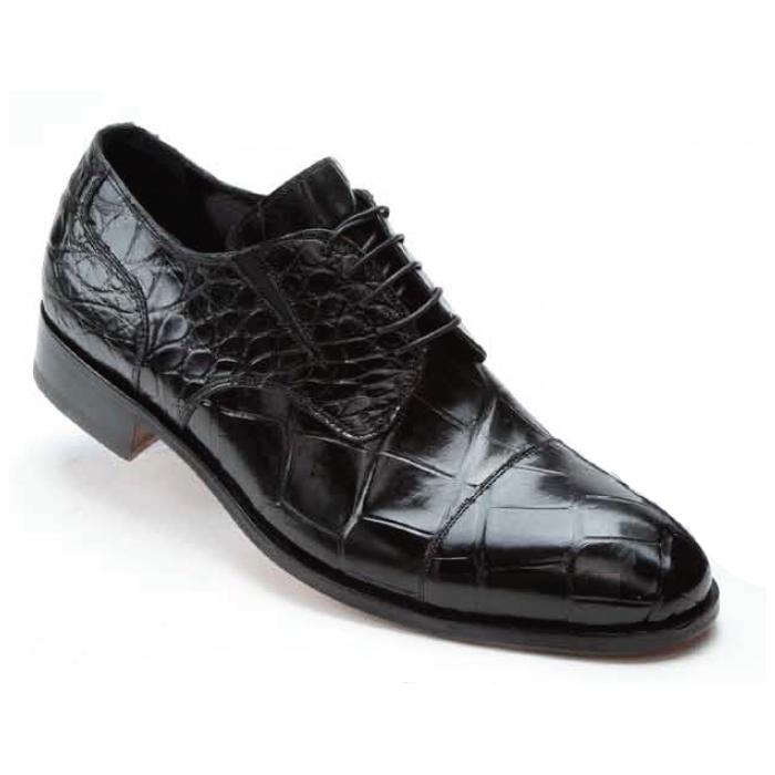 Mauri 1072 Sforza Alligator Cap Toe Shoes Black (Special Order) Image
