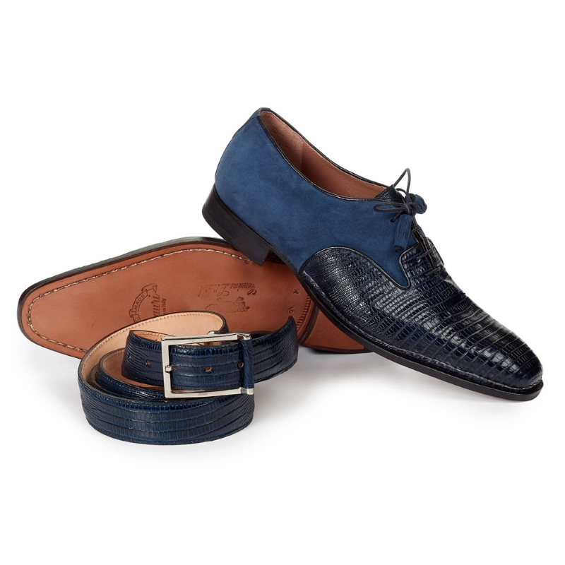 Mauri 1083 Abissinia Lizard & Suede Oxfords Wonder Blue (Special Order) Image