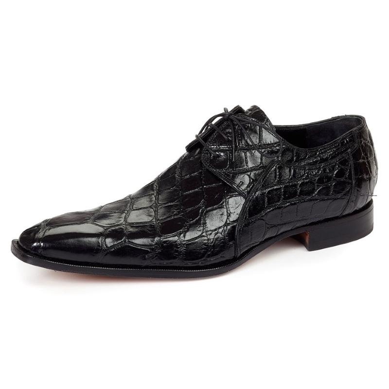 Mauri 1085 Sipario Alligator Derby Shoes Black (Special Order) Image