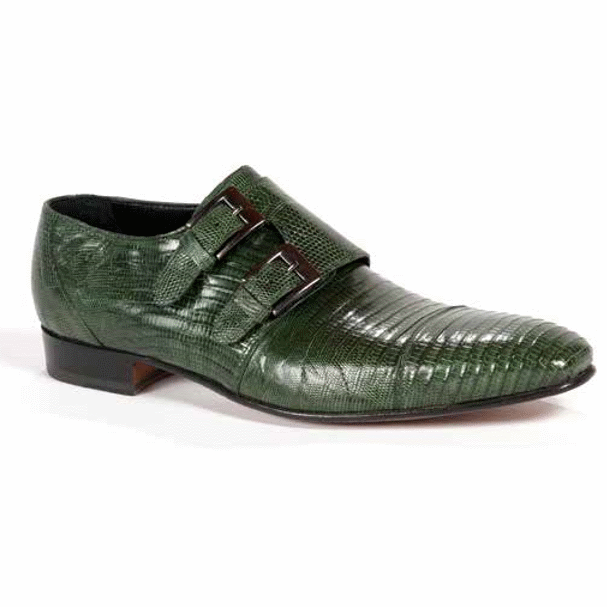 Mauri 1152-2 Lizard Double Monk Strap Shoes Forest Green (SPECIAL ORDER) Image