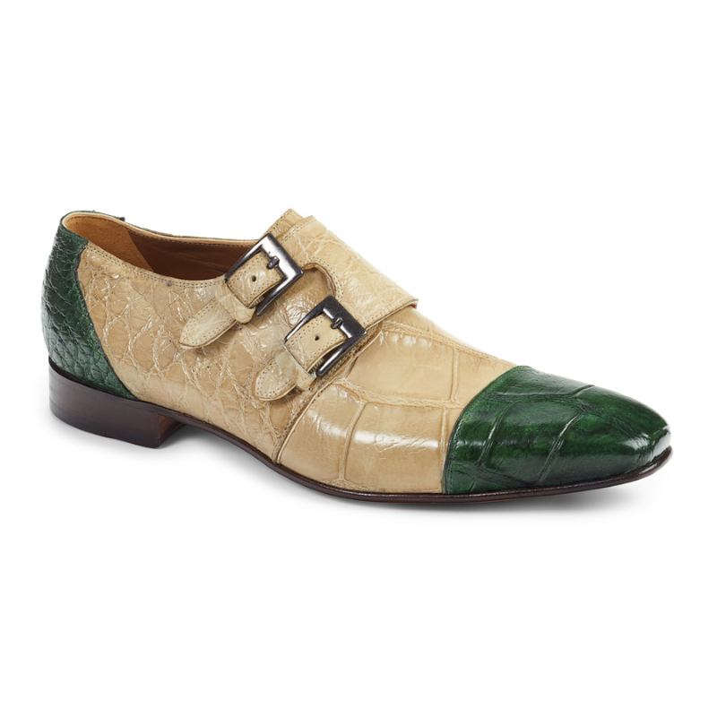 Mauri 1152 Double Monk Strap Shoes Bone / Green (Special Order) Image